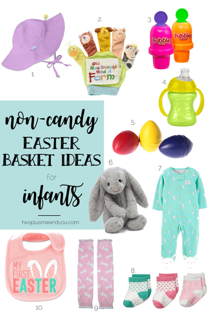Non-Candy Easter Basket Ideas for Infants | twoplusmeandyou.com