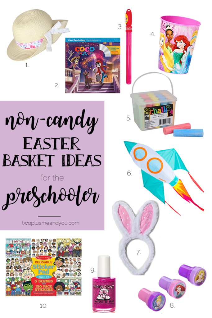 Non-Candy Easter Basket Ideas for the Preschooler | twoplusmeandyou.com